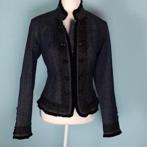 Inc medium denim Blazer velvet embroidery applique